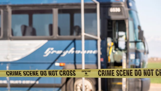 A Greyhound bus was left bloodied after four passengers were wounded as they subdued a knife-wielding woman threatening the life of a child as they traveled Highway 99 through Tulare County on Monday, March 5, 2018.