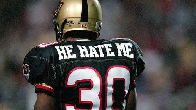"""Rod """"He Hate Me"""" Smart during his time with the XFL's Las Vegas Outlaws."""