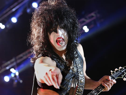 "KISS' Paul Stanley gets his point across during the band's Milwaukee concert at the BMO Harris Bradley Center Monday, Aug. 8, 2016. KISS claims its calling it quits after the current ""End of the Road"" tour."
