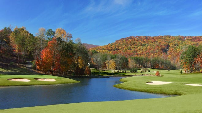 A view of one of the holes at Rumbling Bald's Apple Valley Course in Lake Lure.