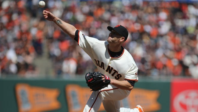 Tim Hudson yielded five runs in five innings for the loss.