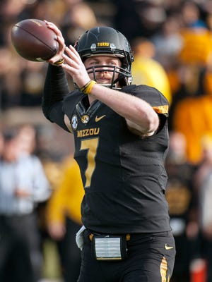 Missouri quarterback Maty Mauk throws a pass during the first quarter of Friday's game against Arkansas, in Columbia.