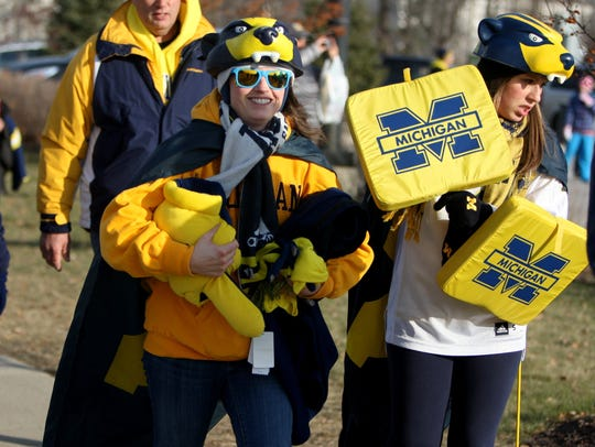 Michigan fans arrive for the game against  Ohio State