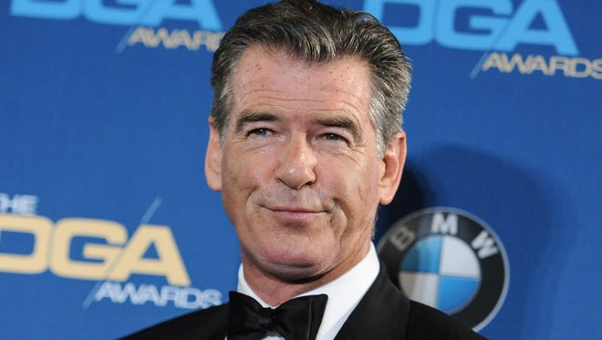 Pierce Brosnan attends the Press Room at the 67th Annual DGA Awards, in Los Angeles on Feb. 7, 2015. Police say former James Bond actor Brosnan has been stopped at a Vermont airport security checkpoint because of a knife he was carrying. Burlington Police Department Lt. Shawn Burke says airport authorities told him about Brosnan's encounter with Transportation Security Administration agents. He said Tuesday, Aug. 4, 2015, that police wouldn't be called to Burlington International Airport for such an incident and they don't have a report on it.
