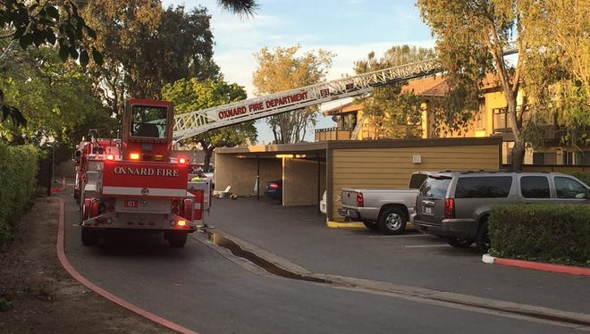This was the scene Tuesday evening after the fire in the 600 block of West Vineyard Avenue in Oxnard.