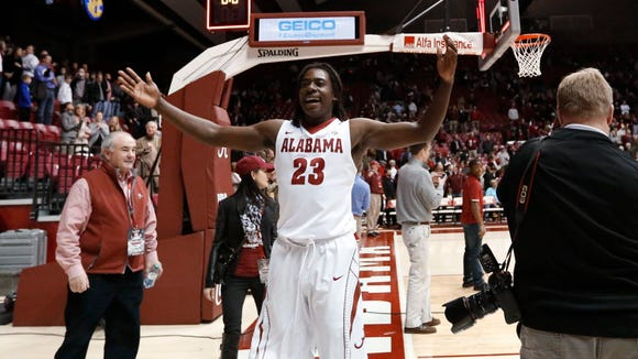 Alabama guard Brandon Austin helped Alabama get past Ole Miss in the second round of the SEC Tournament on Thursday night in Nashville.