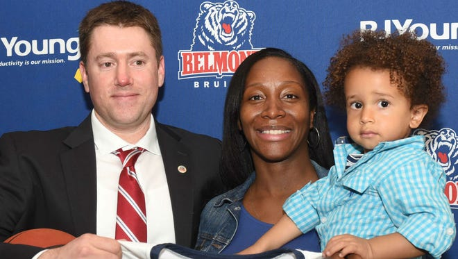 New Belmont women's basketball coach Bart Brooks, left, is married to former DePaul and pro basketball player Charlene Smith. Their son's name is Trey.