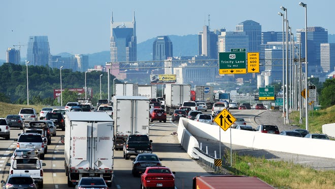 Morning traffic heads southbound on Interstate 65 near Trinity Lane on its way to downtown Tuesday, June 21, 2016, in Nashville.