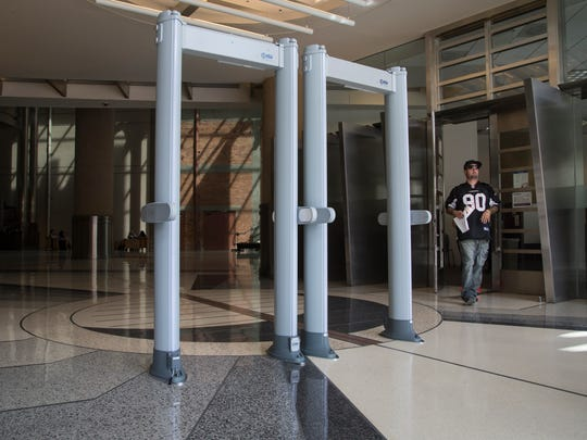 Metal detectors are setup in Phoenix City Hall at the