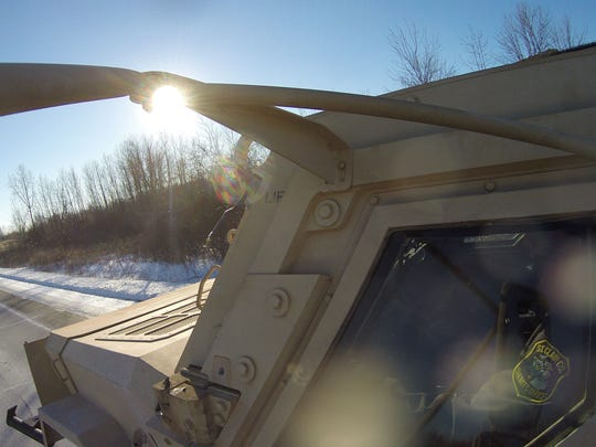 Deputy Nathan Welch drives the MRAP vehicle in Port Huron Township.