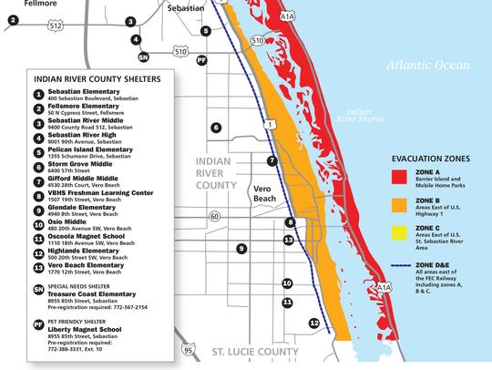 This map shows possible Indian River County hurricane