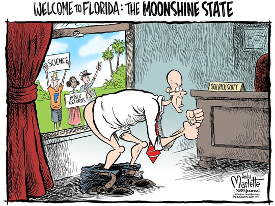 Gov. Rick Scott cartoons by Andy Marlette