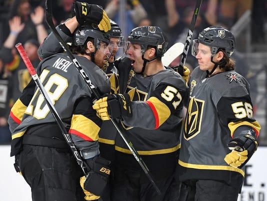 USP NHL: CALGARY FLAMES AT VEGAS GOLDEN KNIGHTS S HKN VGK CGY USA NV