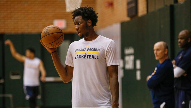 Purdue basketball standout Caleb Swanigan takes part in various shooting drills during a pre-draft workout for the Indiana Pacers at Bankers Life Fieldhouse on Monday, May 15, 2017.