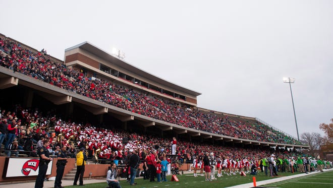 Nov 27, 2015; Bowling Green, KY, USA; A general view during the game between Western Kentucky Hilltoppers and Marshall Thundering Herd at Houchens Industries-L.T. Smith Stadium. Western Kentucky Hilltoppers won 49-28. Mandatory Credit: Joshua Lindsey-USA TODAY Sports