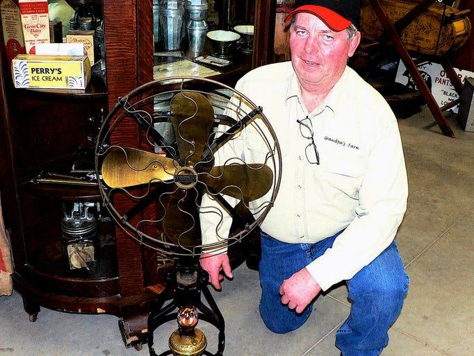 Ed Larson and his kerosene powered Lake Breeze fan.