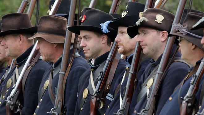 North soldiers stand in formation Saturday September 24, 2016 at the Wade House Historical Site in Greenbush.