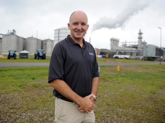 Jim Galvin, President of Three Rivers Energy, in front of the biofuels refinery on County Road 271 in a Tribune file photo.