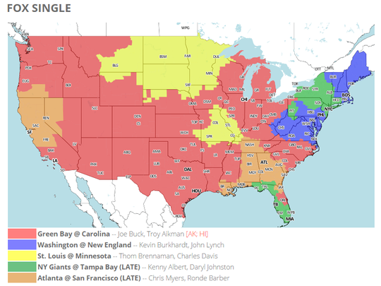 FOX will show the Packers-Panthers game to the areas shaded red on the map. This map is subject to change. Check 506sports.com for the latest updates.