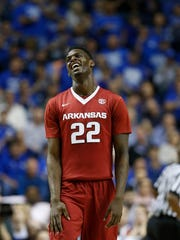 Arkansas forward Jacorey Williams (22) reacts to a foul call against Arkansas during the second half of the SEC championship. Arkansas lost to Kentucky, 78-63.