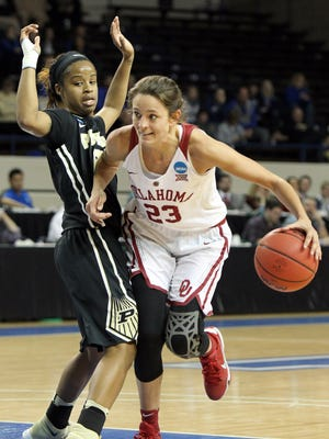 Oklahoma's Maddie Manning (23) looks for an opening on Purdue's Abby Abel during a first-round women's college basketball game in the NCAA Tournament in Lexington, Ky., Saturday, March 19, 2016.