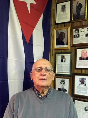 Eduardo Ochoa, 87, of North Bergen, who was imprisoned for three years in Cuba for speaking against the Castro regime, visiting the Union of Ex-Political Prisoners in Union City on Saturday.