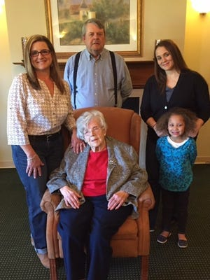 Hilda Burkett has five generations in her family. From left are Angela Brown, Rodney Burkett, Justin Happeny and Bentley Happeny.