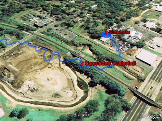 Researcher Jonathan Lammers created this overlay of an 1829 drawing of the cascade path on a 2006 aerial photo of Cascades Park then under construction.