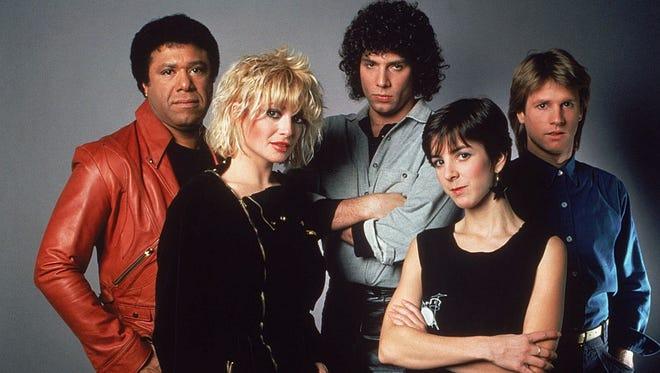 MTV's five original VJs, from left:  J.J. Jackson, Nina Blackwood, Mark Goodman, Martha Quinn, Alan Hunter.