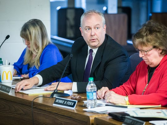 Dr. Steve Baule speaks during a school board meeting on Tuesday, March 28, 2017.