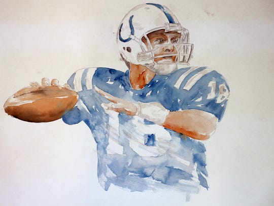 This watercolor by former Indianapolis Colts linebacker