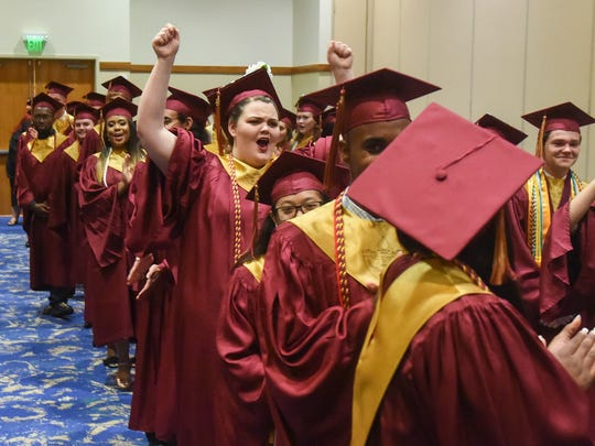 Graduate Mary Carota lets out a cheer Saturday, May 26, 2018, before the start of the Somerset College Preparatory Academy class of 2018 commencement ceremony at the Port St. Lucie Civic Center. To see more photos, go to TCPalm.com.