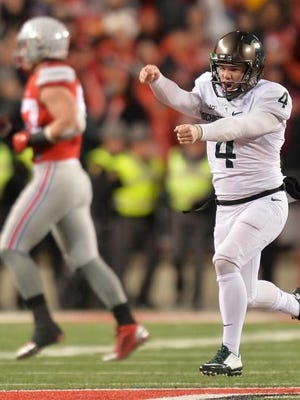 MSU's Michael Geiger runs up the field celebrating after kicking a 41-yard field goal as time expired to beat Ohio State last season.