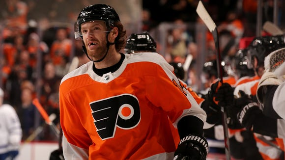 Sean Couturier was hit by Radko Gudas in Tuesday's practice.