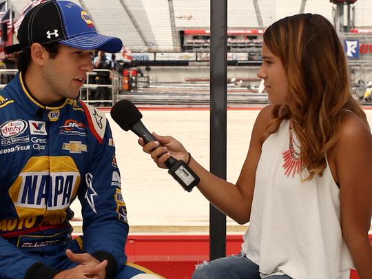interviews 2014 NASCAR Xfinity Series champion Chase Elliott last month at Bristol Motor Speedway.