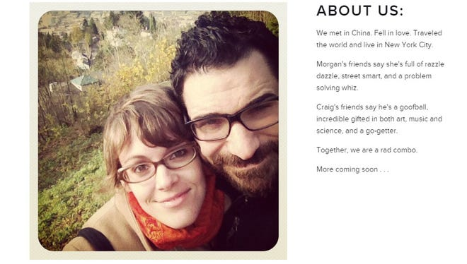A screenshot from a website Craig Spencer and his fiancee set up for their wedding.