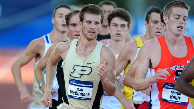 FILE -- Purdue's Matt McClintock, shown competing in track and field, won the Big Ten cross-country title Sunday.