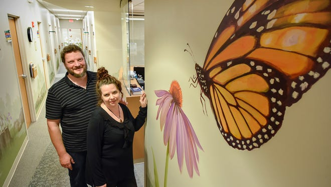 Artists Jim Lundberg and Rebekah Glassman painted a mural around the pediatric short stay unit shown Friday, Sept. 15, at the CentraCare Health Plaza.