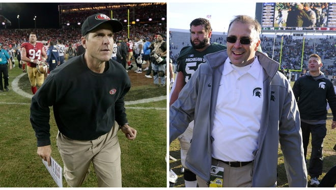 The buzz surrounding hope that San Francisco 49ers coach Jim Harbaugh, left, will take over at Michigan, coupled with worries about MSU's future minus defensive coordinator Pat Narduzzi, right, has created a skewed dynamic in this state about who's winning and who's losing.