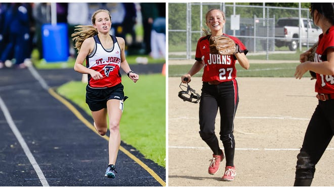 Twin sisters Karrigan Smith (left) and Kayleigh Smith (right) have been key contributors for their teams this spring. Karrigan has a chance to repeat as the Division 2 state champion in the 1,600 run, while Kaleigh could help the Redwing softball team win a district title.