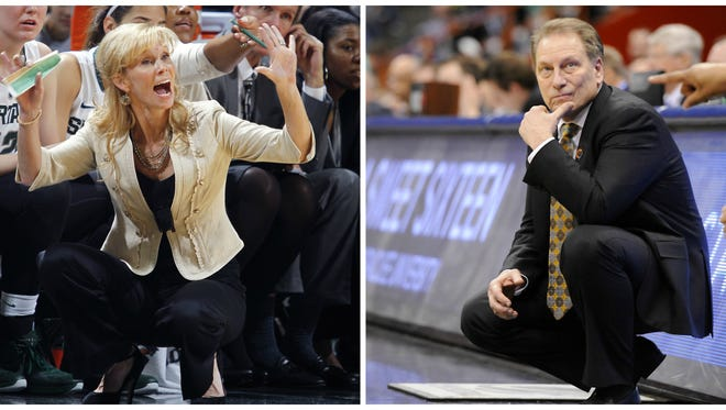 MSU men's basketball coach Tom Izzo, right, and women's basketball coach Suzy Merchant had their contracts extended one year on Wednesday.