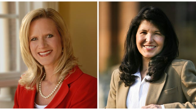 Sumner County Board of Education Chairman Beth Cox, left, is challenging state Rep. Courtney Rogers in the 45th District House race.