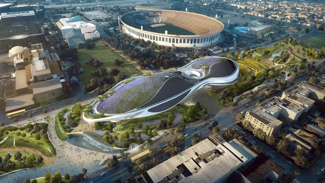 Artist rendering of exterior of George Lucas Museum of Narrative Art that will be built near the Los Angeles Coliseum, following unanimous approval by the Los Angeles City Council June 27, 2017.