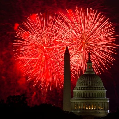 Fireworks over the U.S. Capitol and the Washington