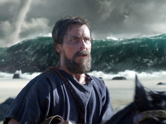 Christian Bale (as Moses) crosses the Red Sea in 'Exodus: