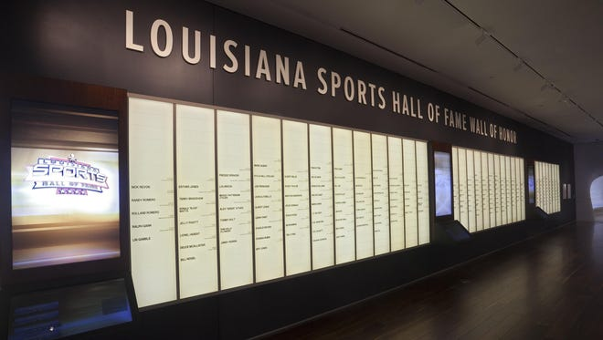 This is the Wall of Fame on the main floor at the Louisiana Sports Hall of Fame museum with the names of all the 389 inductees, including 318 competitors, since its origin in 1959.