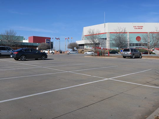 This file photo shows the parking lot in front of the Ray Clymer Exhibit Hall and the Kay Yeager Coliseum. Council will be considering approval of just over $450,000 in 4B funds to begin pre-construction work of the city-owned conference center portion of a new hotel/meeting space at the MPEC.