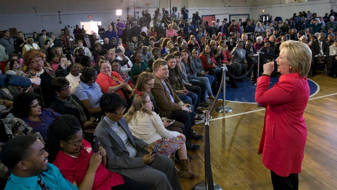 Democratic presidential candidate Hillary Clinton answers a questions during a town hall meeting at Denmark Olar Elementary School in Denmark, S.C., Friday Feb. 12, 2016.