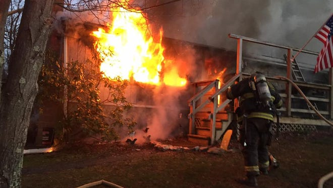 Firefighters responded to a blaze at a mobile home in Peach Bottom Township Saturday morning .