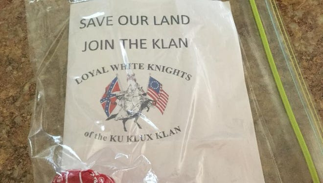 Sioux Falls residents are posting on social media that they received posters from Klu Klux Klan recruitment efforts. Some posters came with a piece of candy.